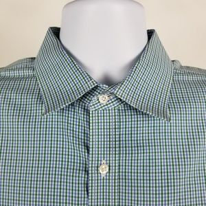 Nordstrom Traditional Fit Green Blue Check 17/34